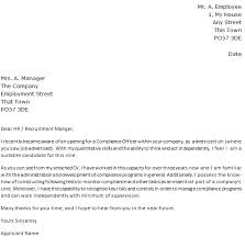 compliance officer job application cover letter example forums