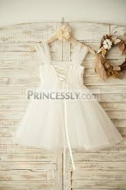 boho beach lace up back ivory tulle beaded flower dress avivaly