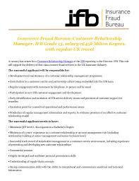 support ran bureau insurance fraud bureau customer relationship manager ifb grade 13
