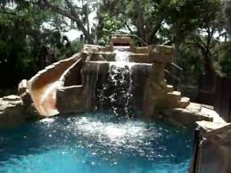 Backyard Pool With Slide - swimming pool with rock waterfall and slide youtube
