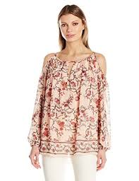 printed blouse max studio s cold shoulder printed blouse at amazon s