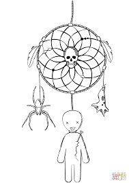 halloween dreamcatcher with voodoo doll and spider coloring page