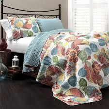 King Size Quilt Sets Amazon Com Lush Decor Layla 3 Piece Quilt Set King Orange Blue