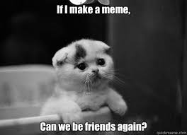 Sad Kitty Meme - if i make a meme can we be friends again sad kitty is sad cats