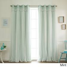 Green And Beige Curtains Home Lace Overlay Room Darkening Grommet Top Curtain Panel