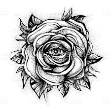 black tattoo rose flower with the eye on white background tattoo
