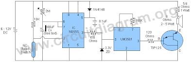 loud door security burglar alarm circuit diagram