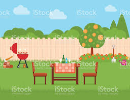house backyard with grill and garden stock vector art 656684298