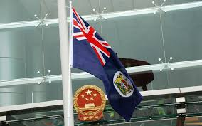China Flag Waving File Protesters Waving The Hong Kong Colonial Flag In Front Of