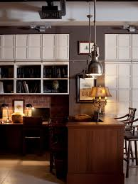 Antique Home Office Furniture by Traditional Two Pendant Lamps Installed Above Home Office Vintage