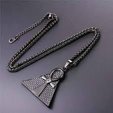 vintage black pendant necklace images Vintage black gun plated rhinestone inlaid egyptian jewelry jpg