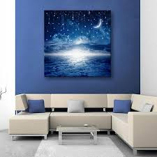2017 led canvas moon lighted wall decoration canvas painting