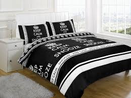 keep calm and snooze black double bed polycotton duvet cover set co