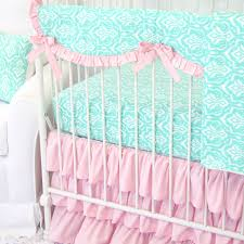 girls frilly bedding delilah u0027s pink and aqua damask ruffle baby bedding caden lane