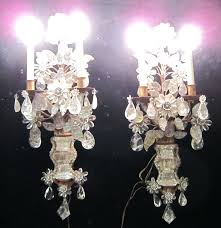 Antique Rock Crystal Chandelier Sconce Early 1800s French Antique Bronze Crystal Electric