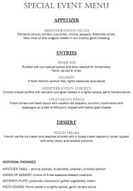 party and special events menu harpos restaurant giovanni and