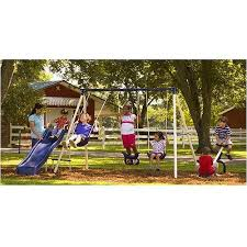 Metal Backyard Playsets Flexible Flyer Triple Fun Ii Metal Swing Set Walmart Com