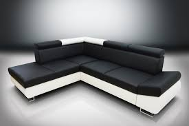 Black Corner Sofas Sofa Bed Felix Eco Leather Black White L H