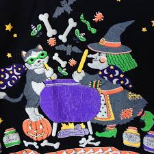 halloween kitty witch kitty and skeleton dinner party vintage 80s tacky ugly