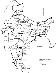 map showing major asbestos mines in india