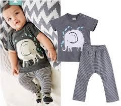 newborn baby boys bodysuit set elephant clothes fits 3