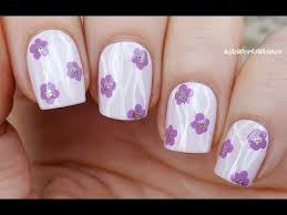 lavender pink flower nail art with curvy lines youtube