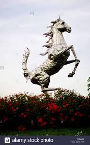 ferrari horse silver ferrari prancing horse statue outside factory in italy