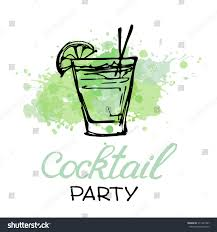cocktail party invitation poster hand drawn stock vector 311247467