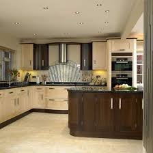 two tone kitchen cabinets with black and white colors