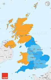 Map With Labels Political Simple Map Of United Kingdom Single Color Outside
