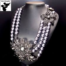 chunky pearl crystal necklace images Cute statement vintage baroque black pearl necklace long chain big jpg