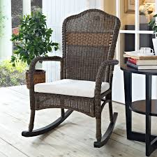 Gray Wicker Patio Furniture by Coral Coast Mocha Resin Wicker Rocking Chair With Beige Cushion