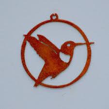 co104 hummingbird ornament rusty bird metal silhouette 3 25