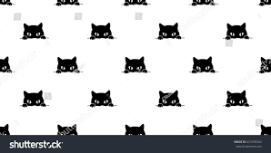 black cat seamless pattern background wallpaper stock vector