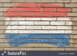 Hollanda Flag Flags Flag Of Netherlands On Grunge Brick Wall Painted With Chalk