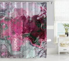 contemporary shower curtain pink purple rose blue gray gray