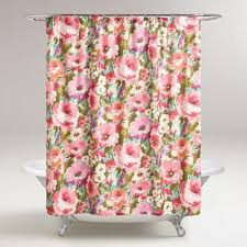 Feminine Shower Curtains A Vibrant Floral Design With Whimsical Watercolor Like Appeal