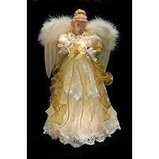 angel christmas tree topper 14 gold ivory lighted fiber optic angel christmas