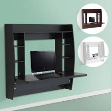 Office Computer Desk Homcom Floating Wall Mount Office Computer Desk With Storage Black
