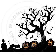 black halloween tree cartoon halloween tree silhouette theme by clairev toon vectors