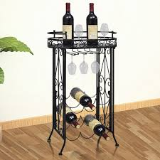 black metal wine rack wine table with hooks for 9 bottles