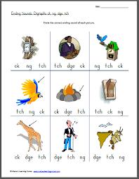 ending sounds digraphs ck ng dge tch worksheets for