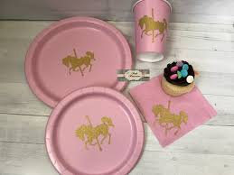 Glitter Dumbo Merry Pink Gold Glitter Carousel Cups And Napkins Merry Go