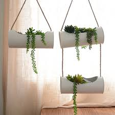 modern hanging planters hanging planter set iron and rope modern succulent cactus pots