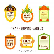 flat thanksgiving stickers set vector free