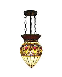 Flush Mount Stained Glass Ceiling Light Creative Shape Shade Tiffany Style Pendant Light In Bright Color