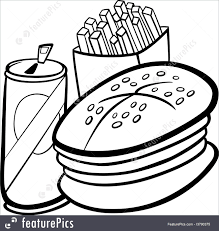illustration of fast food cartoon for coloring book