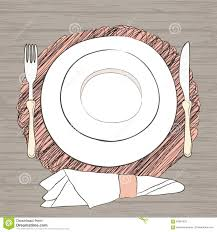 Formal Dining Setting Table Vintage Hand Drawn Place Setting Formal Dinner Stock Vector