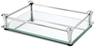 Bathroom Vanity Tray by Amazon Com Taymor Square Vanity Mirror Tray With Chrome Rails