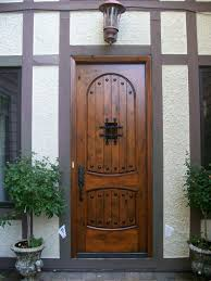 wood front door with glass